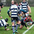 Joe Lancaster scores Stowmarket's first try in their win over Cantabs. Picture: BRIAN BELL
