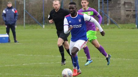 Simon Dawkins on the ball during Town U23s beat Bristol City 4-2 at Playford Road Picture: ROSS HALL