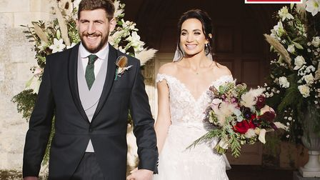 Laura Wright married former rugby player Harry Rowland at Framlingham Church. Picture: Hello!/PA Wir