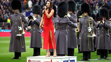 Laura Wright sings the national anthem before the RBS 6 Nations match at Twickenham Picture: GARETH