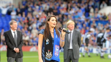 She has also performed at the Bobby Robson Derby - Ipswich Town v Newcastle United - at the naming o
