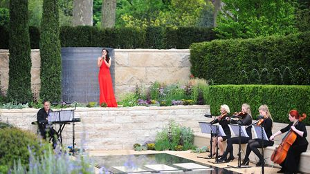 Laura Wright at the Chelsea Flower Show in 2012, performing in The Arthritis Research UK Garden desi