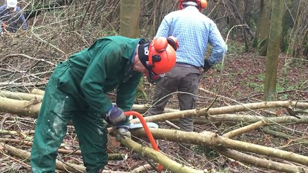 Suffolk Wildlife Trust volunteers meet in Bulls Woods in Cockfield once a fortnight during the winte