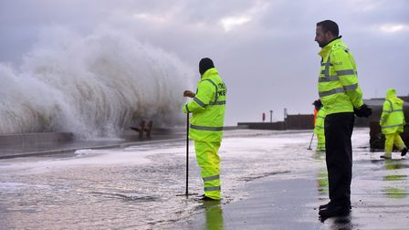 Flooding is expected at Southwold today - this is the situation at Walcott, North Norfolk earlier to