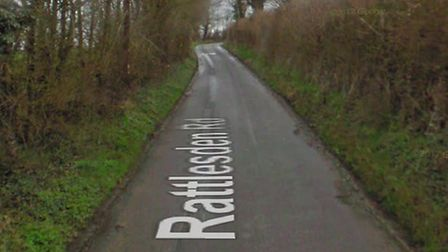 Th crash happened on Rattlesden Road in Drinkstone, near Bury St Edmunds Picture: GOOGLE MAPS