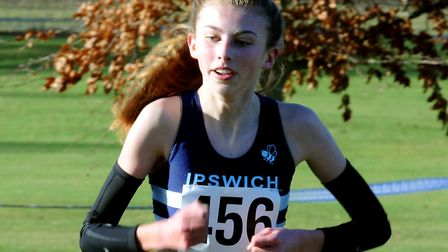 Holly Fisher, crowned the under-17 women's champion at the Suffolk Cross Country Championships. Pict