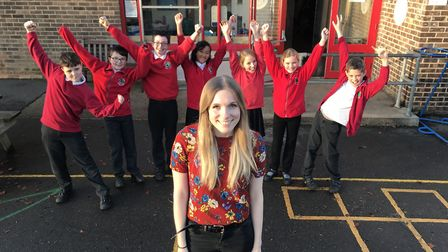 Bethany Havers with some of her students from top performing All Saints CofE Primary School in Laxfi