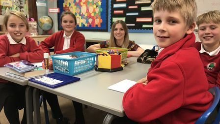 Miss Havers with students (L-R) Tiggy, Olivia, Charlie and Edward from All Saints CofE Primary Schoo