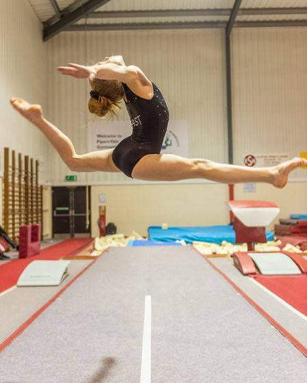 Grace Wardley in training at Pipers Vale Gymnastics Club. Picture: PAVEL KRICKA