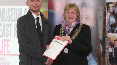 Dean Lambert of Inspire Suffolk's Prince's Trust team programme graduates. He is pictures with Stowm