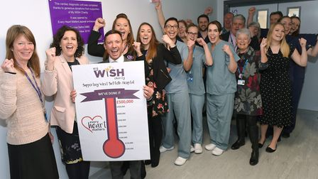 Frankie Dettori along with the My WiSH Charity team and members of the cardiac department at the Wes
