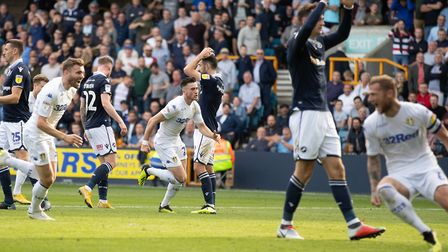 Millwall players react to Jack Harrison's late equaliser for Leeds at The Den back in September. The