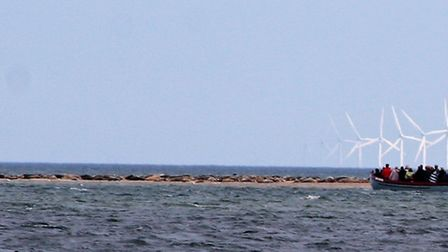 The Sheringham Shoal Wind Farm can be seen from Blakeney Point in North Norfolk. Picture: PAUL GEATE