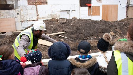 Colchester site is revealing Roman history of the town. Children from Layer Del La Haye primary scho