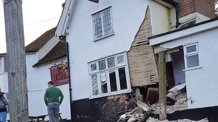 The 500-year-old pub has suffered significant damage Picture: RACHEL EDGE