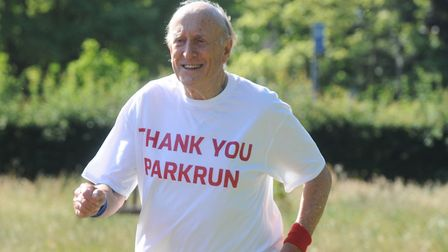 Woodbridge's James Kelly, taking part in his 100th parkrun at Chantry Park, Ipswich, in 2015. He wi