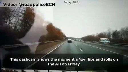 One of the shocking images from the dashcam footage. Picture: @roadpoliceBCH