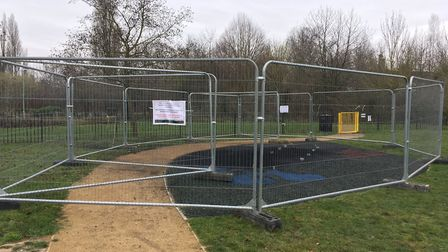 The play equipment that was set on fire at the Tayfen Meadows estate has now been removed Picture: M