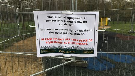 The climbing frame has bene removed and the area fenced off while repairs take place Picture MARIAM