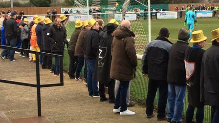 Stowmarket Town fans watch the action unfold at Langford Road in last weekend's FA Vase fourth round