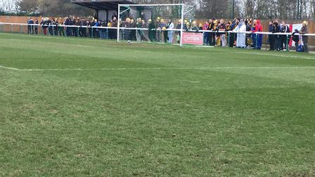 Stowmarket Town fans behind one of the goals during last Sunday's FA Vase tie at Biggleswade FC. Pic