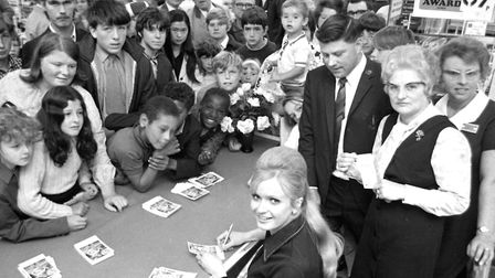 Miss England signing autographs at Woolworths, Ipswich, in August 1971 Picture: ARCHANT