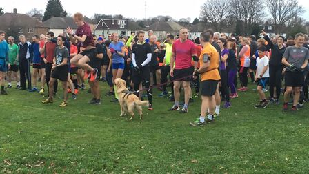 Runners and a few dogs assemble for the start of the 24th Foots Cray Meadows parkrun on New Year's D