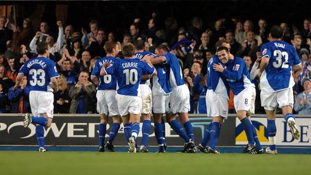 Ipswich Town players celebrate the second goal of the game in Town's 2-1 win over Rotherham United i