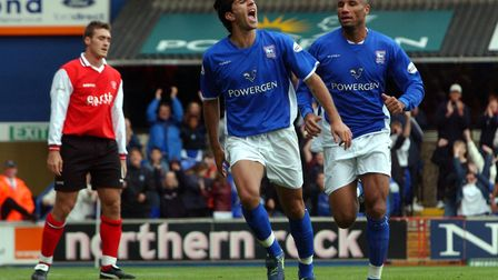 Pablo Counago scored twice as the Blues beat nine-man Rotherham 2-1 at Portman Road in First Divisio