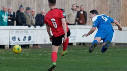 Bury Town's Ollie Hughes scores with this wonderful header against Coggeshall, in November. Hughes w