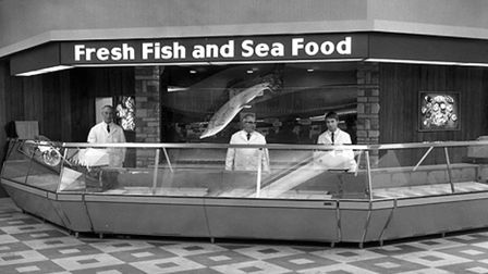 The fabulous fish and seafood counter in the Ipswich Carr Street branch of Woolworths in 1968 - feat