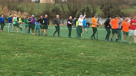 Runners queue in the finish funnel at the Bexley parkrun, which attracted a record field of 618 runn