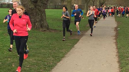 A stream of runners approach the finish of the Bexley parkrun on New Year's Day. Picture: CARL MARST