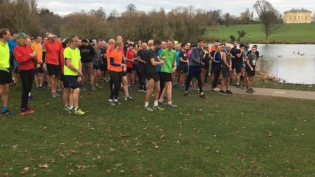 A record field congregates for the start of the Bexley parkrun, beside the lake in Danson Park. Pict