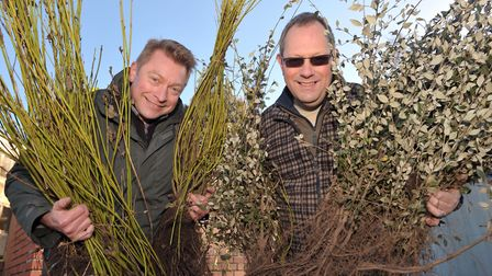 David Carter and Bob Penny with some of the trees at the Trees for Years event in 2014