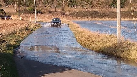 Floods on the roads at Shingle Street Picture: JULIET GREEN