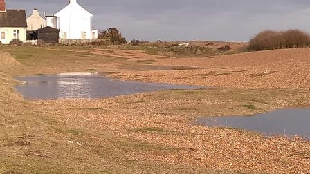 Floods due to high tide at Shingle Street Picture: TIM GREEN