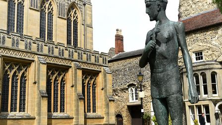 The statue of St Edmund in front of the Abbey West Front in Bury St Edmunds Picture: ANDY ABBOTT