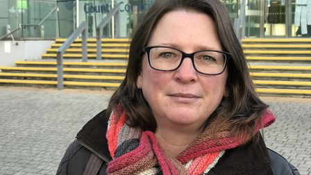 SOS chairman Lisa Tipper outside the Suffolk County Council building Picture: NEIL PERRY