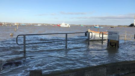 Flooding at Felixstowe Ferry as people are warned to stay away at high tide Picture: SOPHIE BARNETT