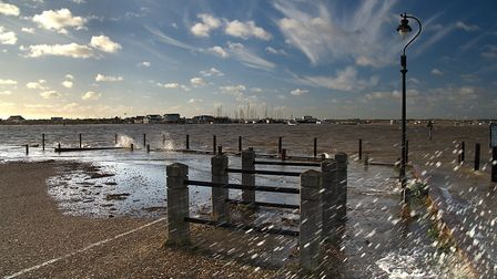 High spring tide at Bawdsey lunchtime today