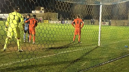 Leiston spent most of the evening on the back foot against St Neots, and here they are defending in
