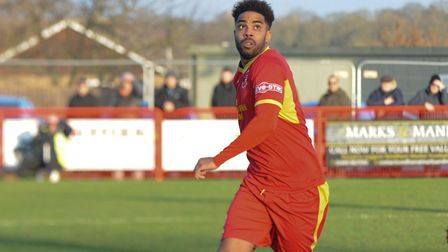 Reece Dobson, netted a late winner for Needham Market at Tamworth. Picture: BEN POOLEY