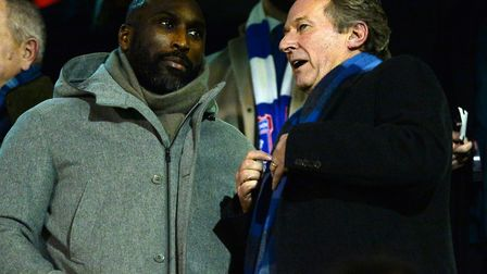 Ian Milne speaking to Sol Campbell at Craven Cottage. Picture: Pagepix