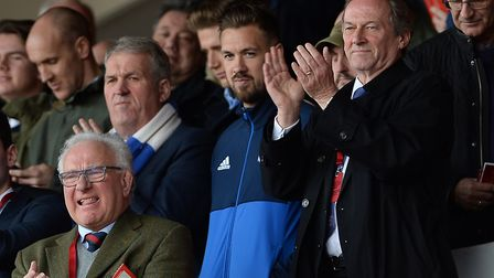 Ian Milne (right) at Nottingham Forest with captain Luke Chambers in the directors' box. Picture: Pa