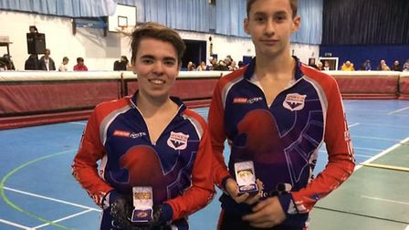 Ipswich pairing, Kristian Mitchell and Harvey Young,who were third and second in the Under 14s Phot