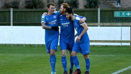 Patrick Brothers, centre, was the star man in Leiston's win over St Neots Town. Picture: JOHN HEALD