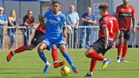 Noel Aitkens was on target for Leiston in their win. Photo: PAUL VOLLER