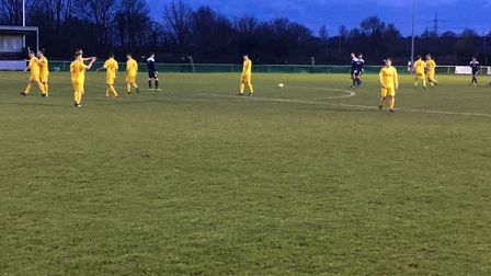 Elated Walsham-le-Willows players return to the centre circle after Sam Peters has just scored the a