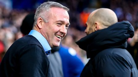 Town manager Paul Lambert smiles after a few words with Rotherham United manager Paul Warne ahead of